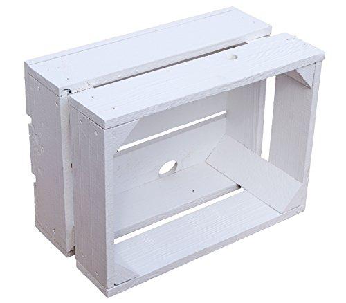 Kistenkolli Altes Land kleine geflammte Kiste Frieda Maße ca 30x22x16cm Weinkiste Aufbewahrungskiste Geschenkekiste Ablageregal (1er Set Frieda weiß) - 2