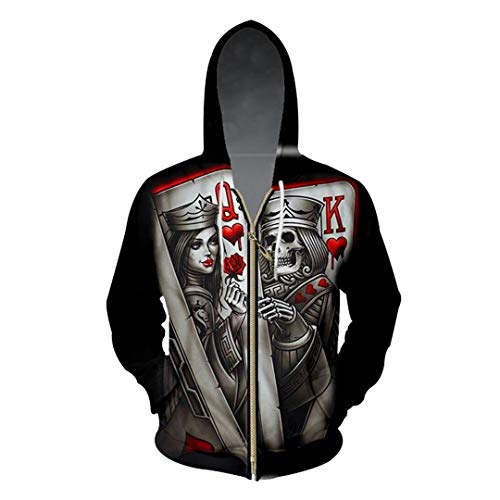 Hombres/Mujeres 3D Impreso Queen and King Poker Skull Chaqueta Sport Pullover Zipper Hoodies Sudadera Queen and King Poker 3XL