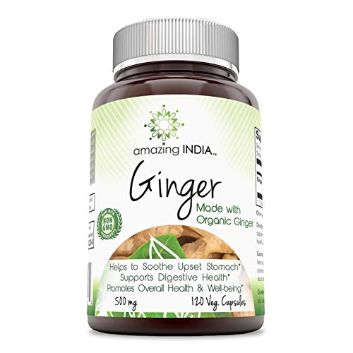Amazing India Ginger (Made with Organic Ginger) 500 Mg, 120 Veggie Capsules (Non-GMO) - Helps Soothe Upset Stomach - Supports Digestive Health - Promotes Overall Health & Well-Being*
