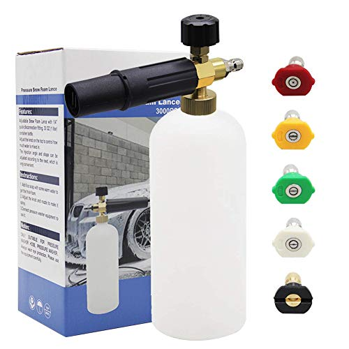 "Twinkle Star Foam Cannon 1 L Bottle Snow Foam Lance With 1/4"" Quick Connector, 5 Spray Nozzle Tips for Pressure Washer"