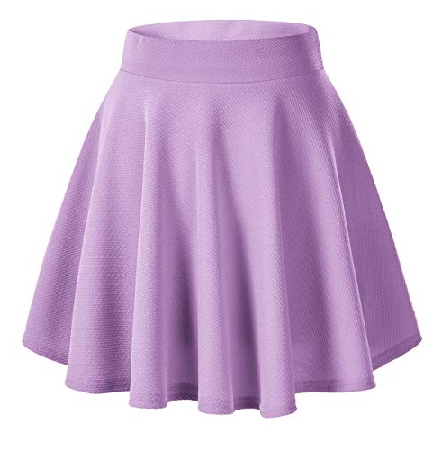 Women's Basic Versatile Stretchy Flared Casual Mini Skater Skirt (S, Lilac)