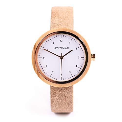 Reloj Madera Mujer - Correa de Cuero Vegano - Ovi Watch