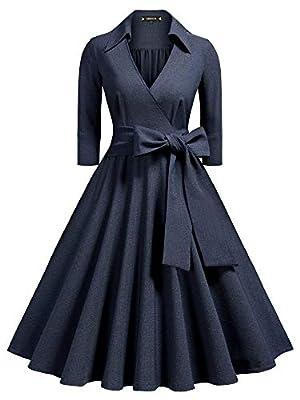 Miusol Women's Deep-V Neck Half Sleeve Bow Belt Vintage Classical Casual Swing Dress