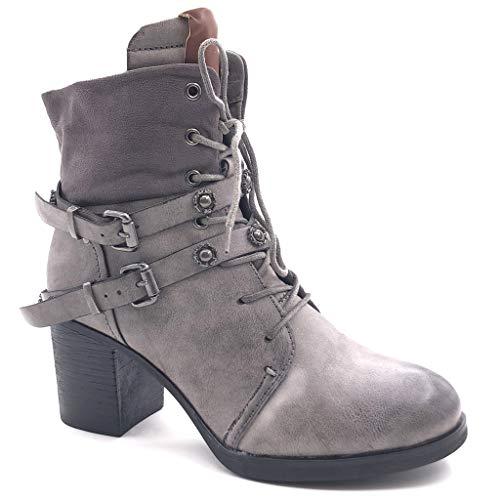 Angkorly - Damen Schuhe Stiefeletten - Combat Boots - Biker - bi-Material - Spitze - String Tanga -...