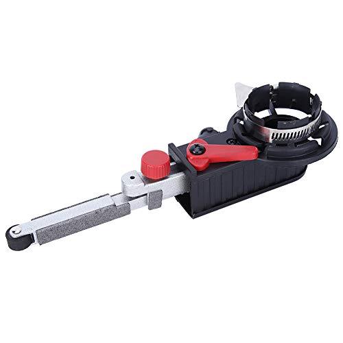 Lijadora de banda, accesorios para amoladora angular, aleación de aluminio, 3 brazos de trabajo negros, para eje de 10 mm, control de velocidad variable, para esquinas, planos y superficies irregulare