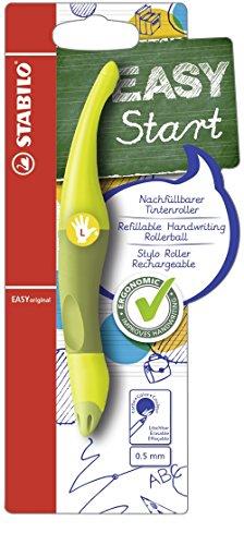 Ergonomischer Tintenroller für Linkshänder - STABILO EASYoriginal in limone/grün - Einzelstift - Schreibfarbe blau (löschbar) - inklusive Patrone