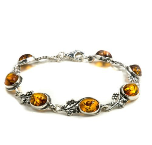 Honey Amber Sterling Silver Fashion Style Grape Vine Bracelet 7'