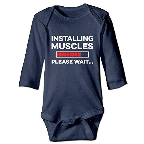 SDGSS Ropa para bebés Bodysuits Installing Muscle Please Wait Baby Long Sleeves Romper Bodysuit For 6-24m Baby