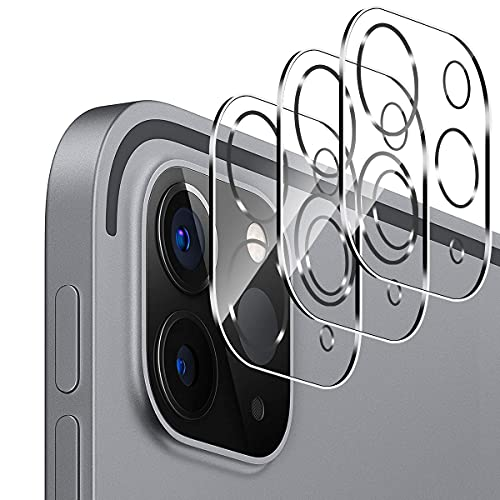 GEEMEE Protector de Lente de cámara para iPad Pro 2021/2020 11/12.9,3 Pack Cristal Película Vidrio Templado Dureza 9H Alta Sensibilidad Cubierta Completa Screen Protector Film