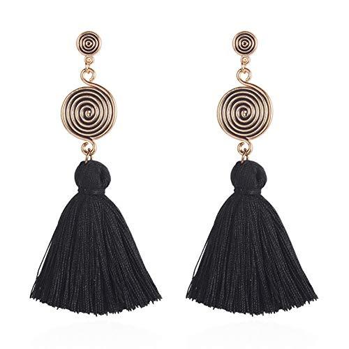 Earrings personality tassel earrings bohemian mosquito coil earrings elegant style black