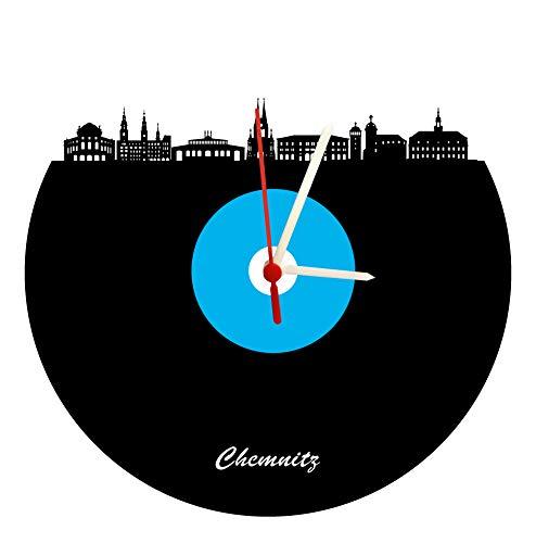 Wanduhr Chemnitz Skyline,blau-weiß, Fußballuhr, hochwertige Acrylglasuhr Wanduhr mit Quarzwerk