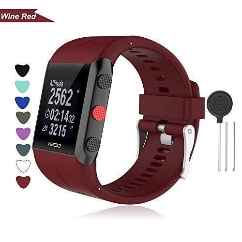 Bemodst Armband für Polar V800 Smart Watch, Silikon Uhrenarmband Ersatz Zubehör Uhrenarmbänder Sport Handgelenk Ersatzband Uhr Gurt für Polar V800 Fitness Tracker (weinrot)