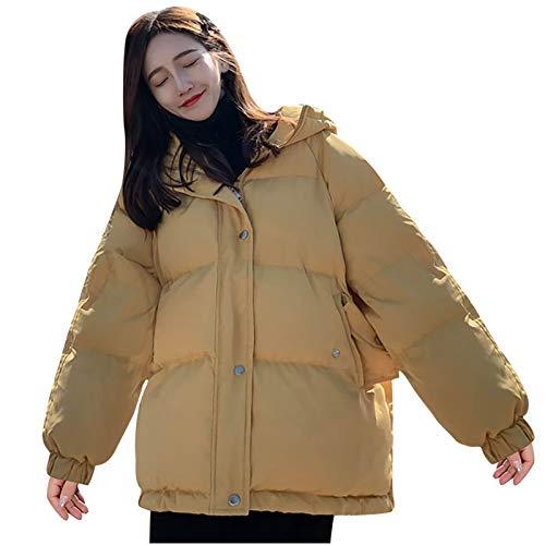 Abrigo De Pan De Invierno para Mujer 2020 Sudadera con Capucha Cálida Chaqueta Acolchada Gruesa y Cálida Chaquetas Gruesas con Cremallera y Botón Sólido