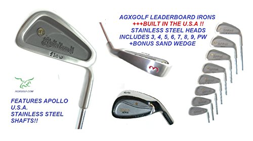 AGXGOLF Men's Leaderboard Right Hand Regular Length Wide Sole Stainless Steel Irons Set; 3-PW w/Free Sand Wedge Built in The U.S.A.