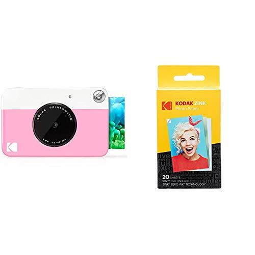 Kodak PrintomaticCámara de impresión instantánea, Imprime en Papel Zink 5 x 7.6 cm con Respaldo Adhesivo + Papel Fotográfico Zink Premium de 2X3 Pulgadas (20 Hojas) Compatible con Smile