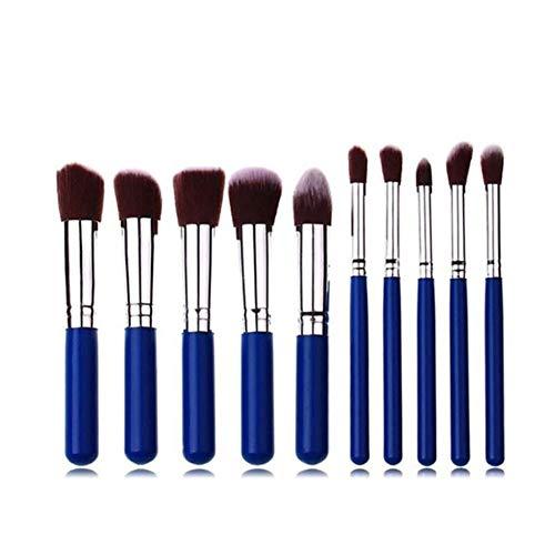 Pinceaux de Maquillage Premium 10 pinceaux de Maquillage Ensemble 5 Grands 5 Petits pinceaux de Maquillage Outils de Maquillage de beauté (Color : Blue)