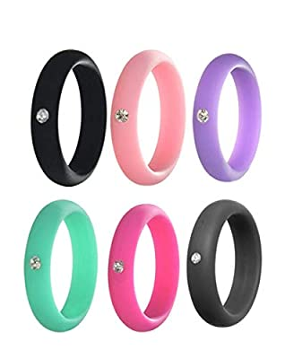 Kebaner 6 Pack 5MM Smooth Silicone Rhinestone Zircon Crystal Thin Wedding Band Comfortable Rubber Ring 7