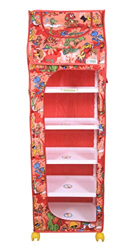 Flipzon Multipurpose 6 Shelve Foldable Baby Wardrobe/Toy Box (Jungle), Red