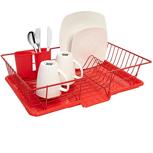 Sweet Home Collection 3 Piece Dish Drainer Rack Set with Drying Board and Utensil Holder, 12' x 19' x 5', Red
