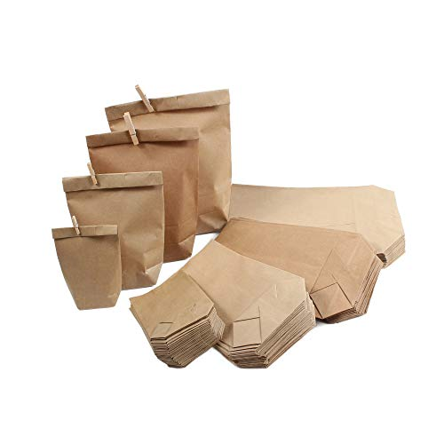 BODA Creative XXL Paket Mix-Set Papiertüten Kraftpapierbeutel, 100 Stück, Sortiert in 4 Größen von 9 x 15 cm bis 19 x 29 cm