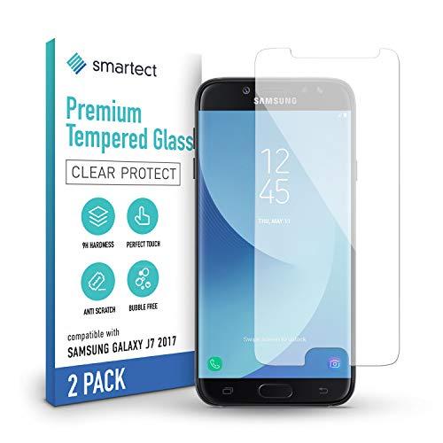 smartect Cristal Templado para Móvil Samsung Galaxy J7 2017 [2 Unidades] - Protector de pantalla 9H - Diseño ultrafino - Instalación sin burbujas - Anti-huella