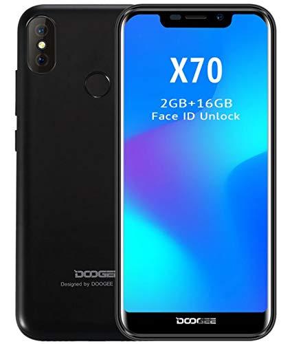 DOOGEE X70 móviles Libres - Pantalla de 5,3 Pulgadas con U-Notch (relación 19: 9), Smartphone Android 8.0 SIM sin Tarjeta, 4000mAh batería, reconocimiento Facial, Quad Core de 2GB + 16GB - Negro