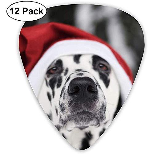 Hund mit Weihnachtsmütze Plektren 12 Plektren für Ukulelen, einschließlich 0,46 mm, 0,71 mm, 0,96 mm Akustikgitarre