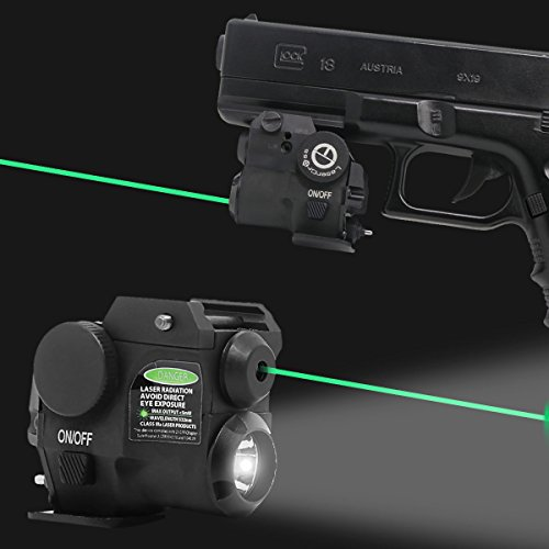 Lasercross Tactical Compact Green Laser Sight,LED Flashlight Laser Combo with 20mm Rail Picatinny On/Off Switch for Air Pistol,Airgun,Modem Semi-Automatic Pistols,Handgun,Shotguns,Rifle etc (2HY01G)