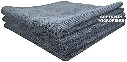 SOFTSPUN Microfiber Cloth - 3 pcs - 40x40 cms - 340 GSM Grey - Thick Lint & Streak-Free Multipurpose Cloths - Automotive Microfibre Towels for Car Bike Cleaning Polishing Washing & Detailing