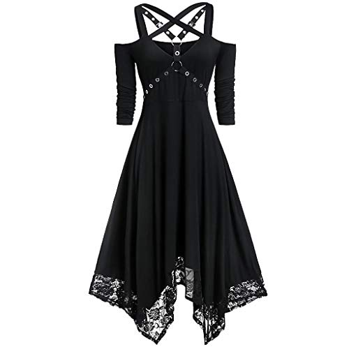 Gothic Kleid Damen Vintage Mittelalter Kleid Erwachsene Kostüm Schwarz Partykleider Schulterfrei Party Festival Kleidung Steampunk Cocktailkleid Karneval Maxikleid (2XL, Schwarz)