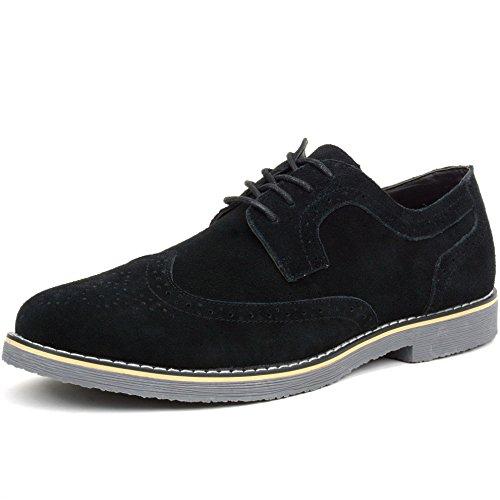 Alpine Swiss Beau Mens Dress Shoes Genuine Suede Wing Tip Oxfords Black 10 M US