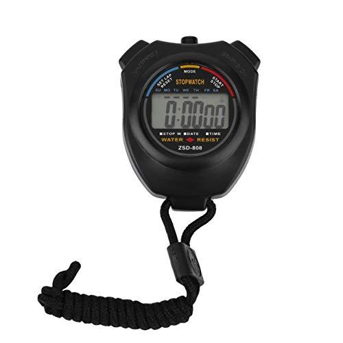 BIYI Cronómetro Profesional LCD Digital de Mano Cronómetro Deportivo Cronógrafo Contador Temporizador con Correa Elegante Negro