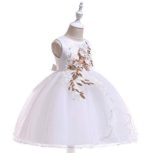 Grouptap Brautjungfer weiß Hochzeit Blumenmädchen Kinder langes Kleid Phantasie Abschlussball Party Prinzessin Tutu Alter 5-6 7-8 Jahre alt Kinder (Weiß, 110-130 cm/Alter 5-8)
