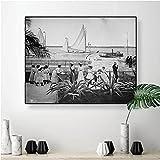 LYHNB Impresión de Lienzo Barcos en Port Nassau Bahamas s Historia del Caribe Moda eduardiana Arte fotográfico en Blanco y Negro sin Marco 50x70cm