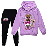 Girls Cloths Sweater and Sweatpants Tracksuit Sets for Toddler Girls Casual Sweatshirt Suit Purple 9-10 Year Old/140cm