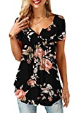 onlypuff Casual Shirts for Women Short Sleeve Tunic Top Pleated Floral Black Medium