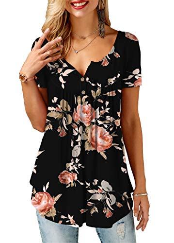 KISSMODA Kurzarmblusen für Frauen T-Shirts mit Blumenmuster Schwarz Klein