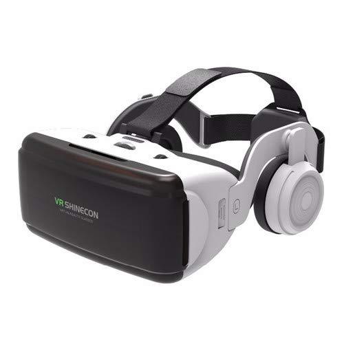 VR Virtuelle Reality-Brille für 3D-Filme, Videospiele, 3D-Brille, kompatibel mit Smartphones von 4,7 bis 6,0 Zoll (mit Kopfhörern, Weiß)
