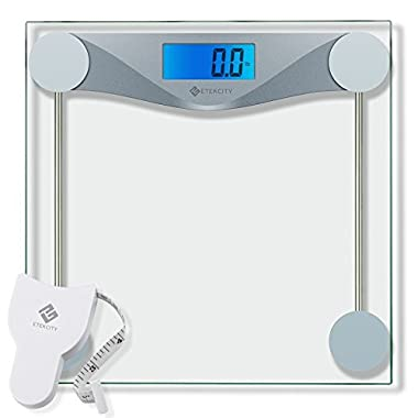 Etekcity Digital Body Weight Bathroom Scale With Body Tape Measure, Tempered Glass, 400 Pounds