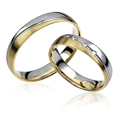 333 GOLD Trauringe in Bicolour inkl 3 Steine + Gravur, Paarpreis von Rubin Juwelier