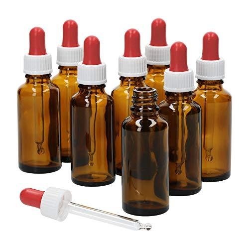 MamboCat 8tlg. Set Miniaturflaschen mit Pipette I Braunglas 30 ml I kleine Apotheker-Glasfläschchen I UV-geschützte Aufbewahrung I Medikamente, Öle, Globuli