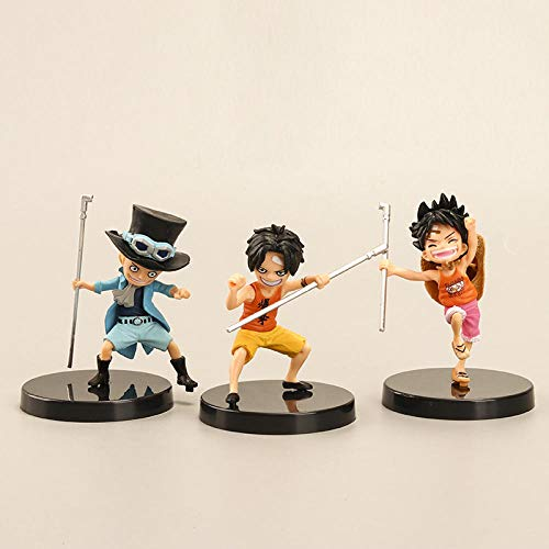 Decorative Ornaments 3 Pieces/Set Anime Artist Childhood Luffy Ace Saab Three Brothers Doll PVC Collection Model Toy Home Decoration Birthday Gift