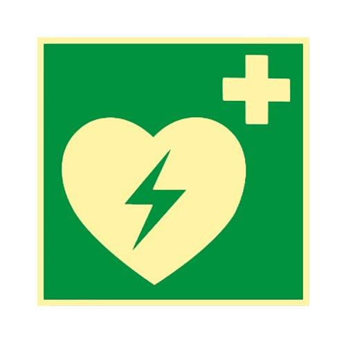 Defibrillator Kunststoff nachleuchtend selbstklebend 150 x 150mm