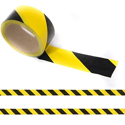 Hazard Tape - Nastro adesivo nero e giallo, nastro per distanze sociali, nastro per pavimenti, nastro di sicurezza, nastro di avvertenza, nastro di avvertenza 48 mm x 30 m