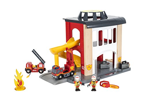 BRIO- Fire Station Juego Primera Edad, Color Gris, Multicolor, Rojo, Amarillo (33833)