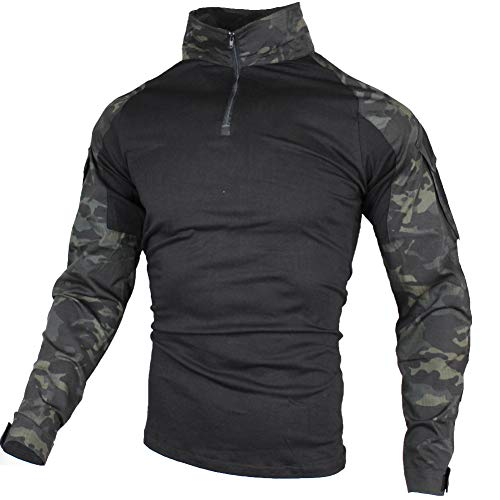 zuoxiangru Camiseta de Combate táctica para Hombres, Camisa Multicam Transpirable Ripstop para Caza Militar Airsoft (Aymc, EU 3XL=Tag 5XL)