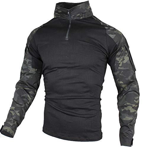 zuoxiangru Herren Taktisch Kampf T-Shirt, Ripstop Atmungsaktiv Multicam Hemd für die Jagd Militär Airsoft