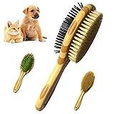 Sunwuun Brosse Chien Chat de Toilettage Massage en Caoutchouc Double Face, Brosse pour Chien/Chat, Convient aux Animaux à Poils Courts, Moyens et Longs (Yellow)