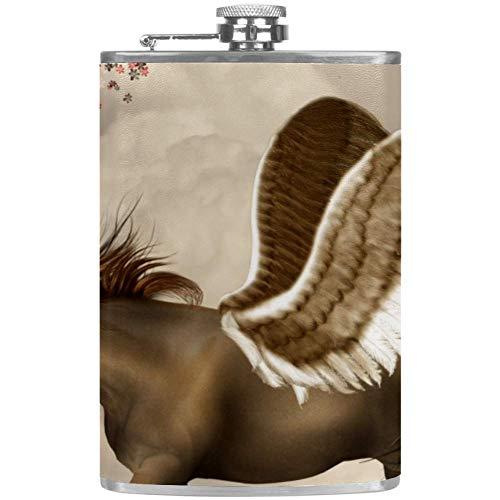 Bennigiry Herren-Flachmann, Pegasus, auslaufsicher, Edelstahl, Taschen-Flachmann für Likör