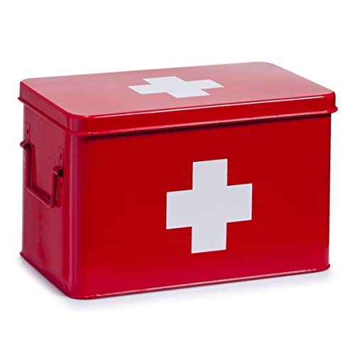Zeller 18116 Medizin-Box, Metall, rot, ca. 32 x 19,5 x 20 cm